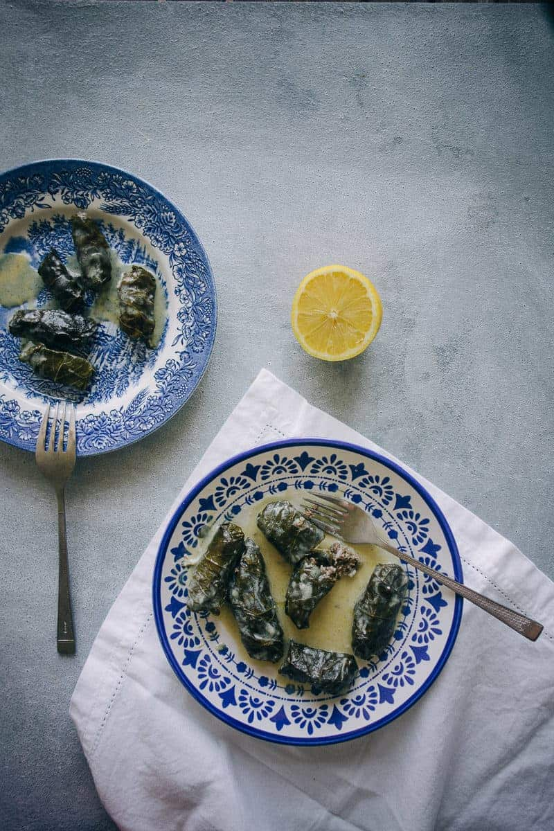 Greek dolmades with avgolemono served on a plate