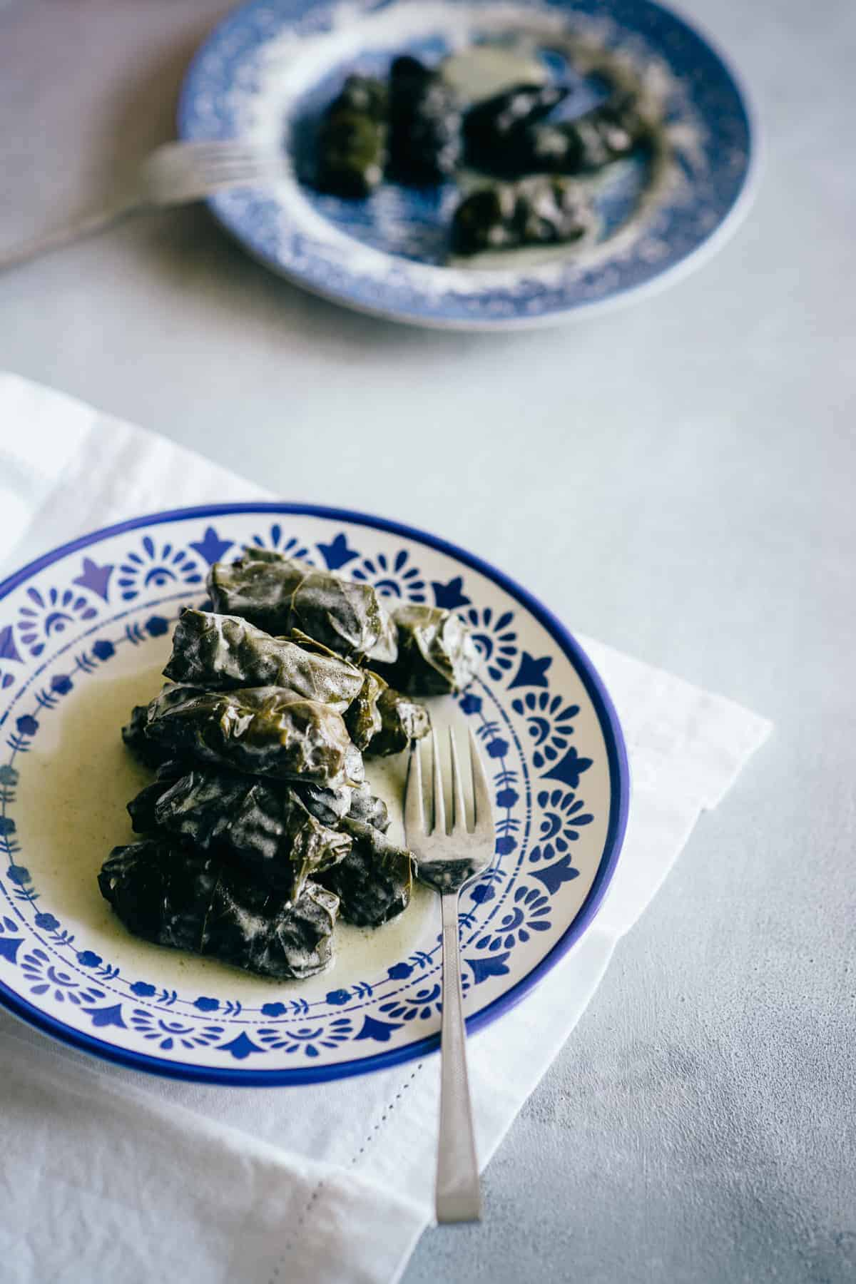 plate filled with Greek dolmades
