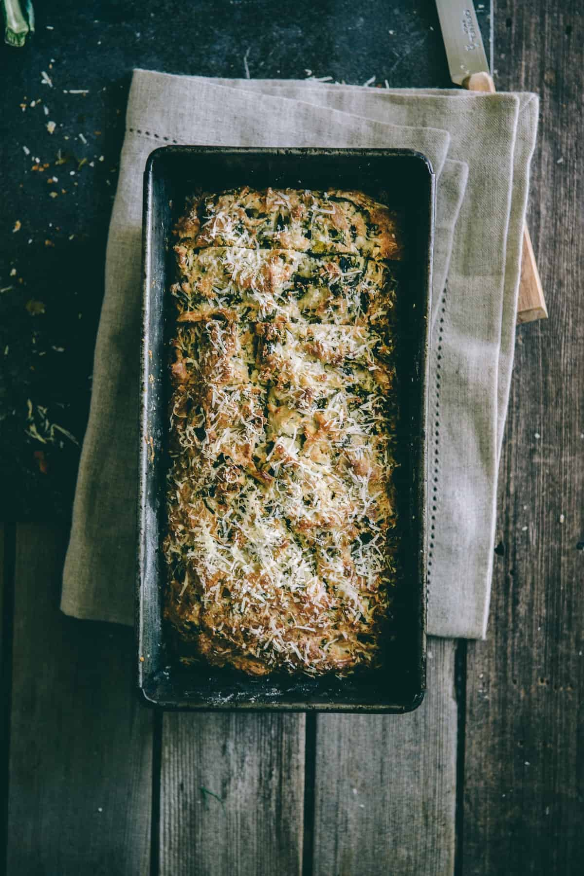 a savoury bread in a baking tin
