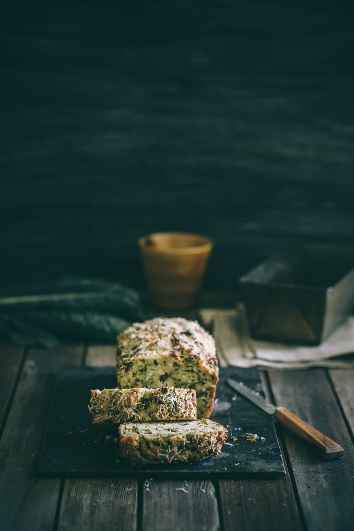 sliced kale and feta bread