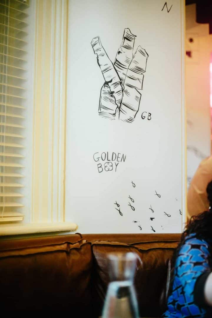drawing on wall at Golden Boy restaurant in Adelaide