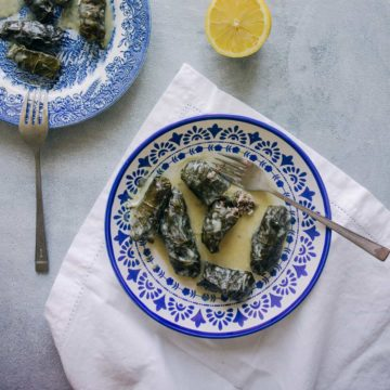 Greek dolmades served a plate
