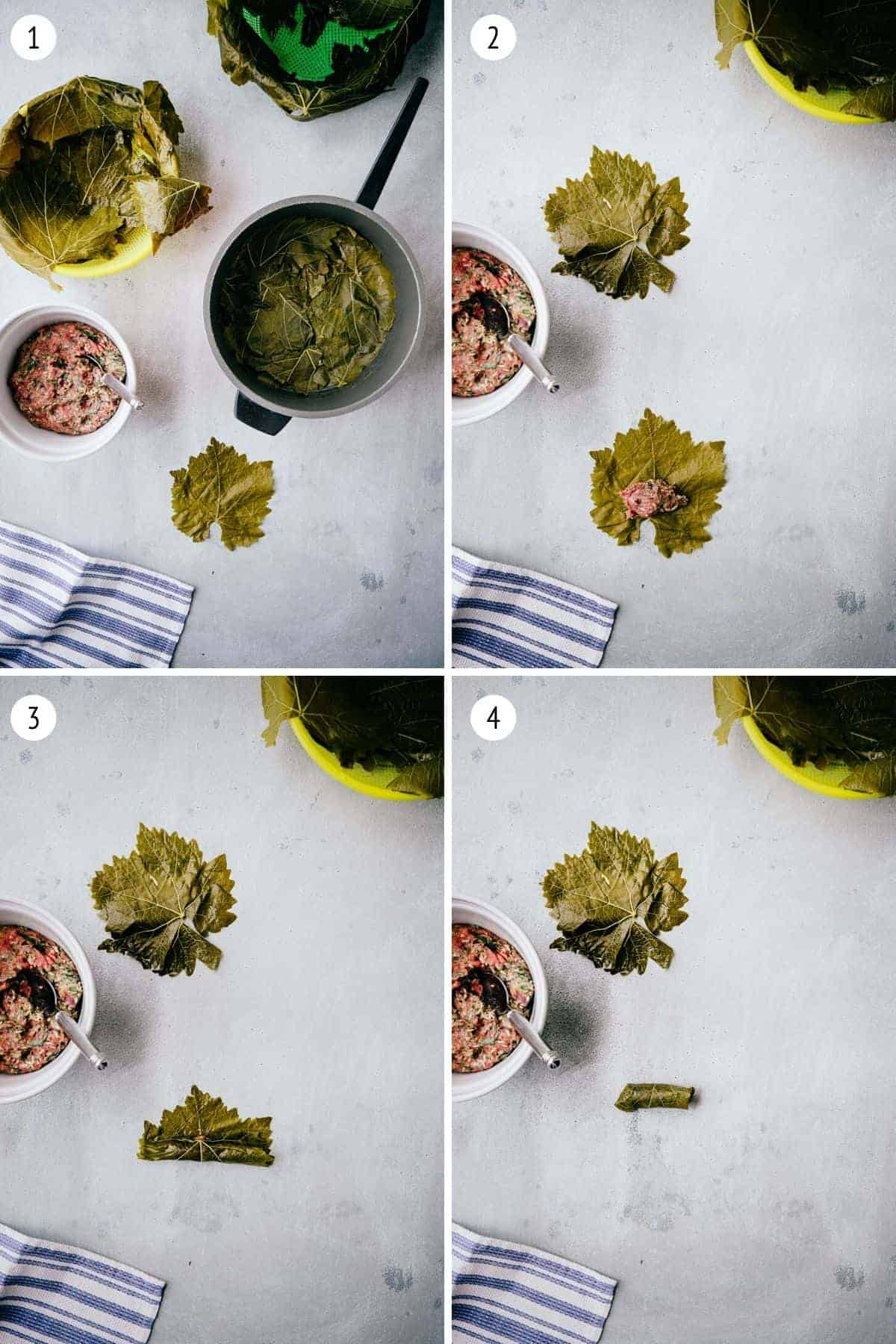 instructions on how to make Greek dolmades