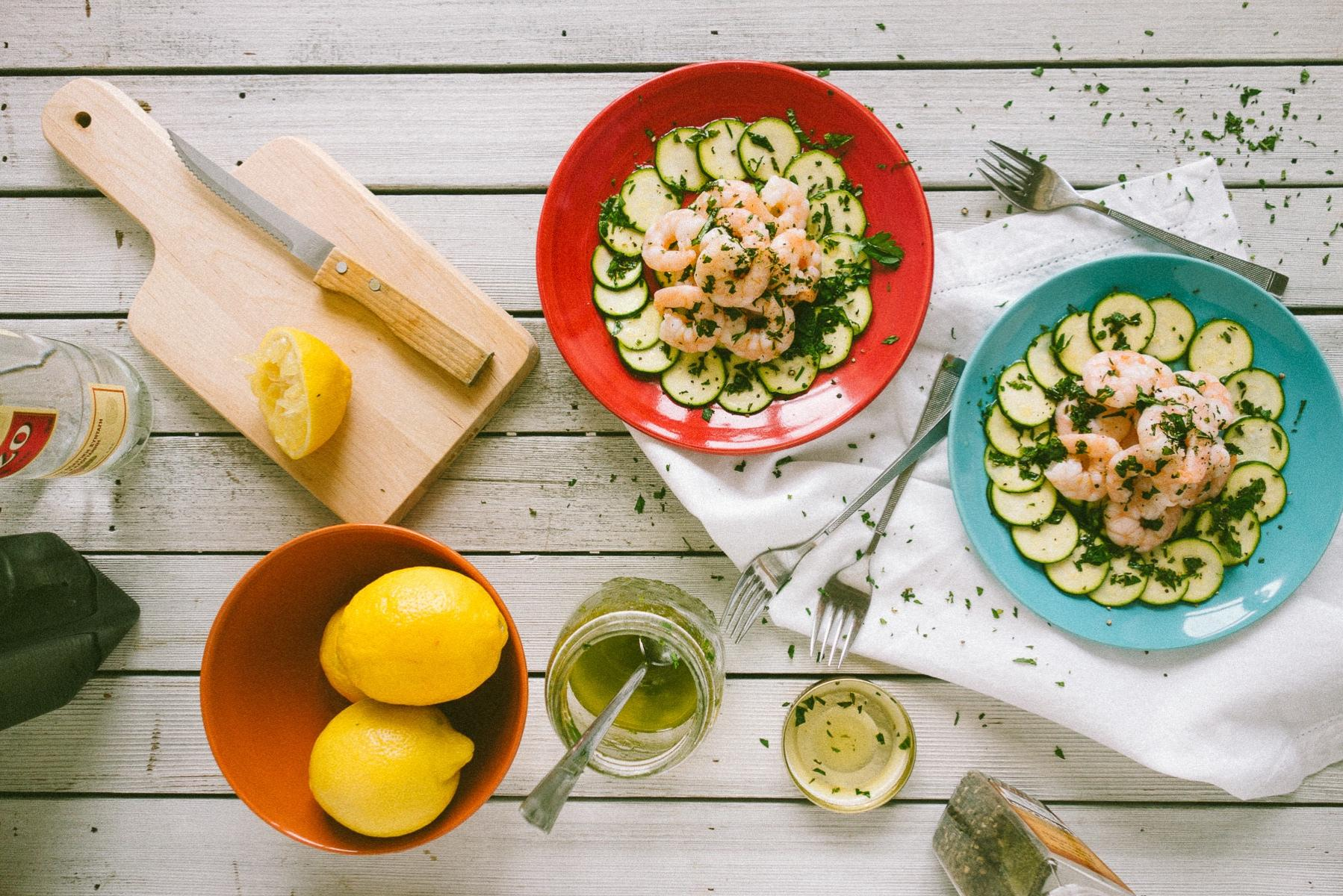 zucchini carpaccio with prawns and an ouzo salad dressing