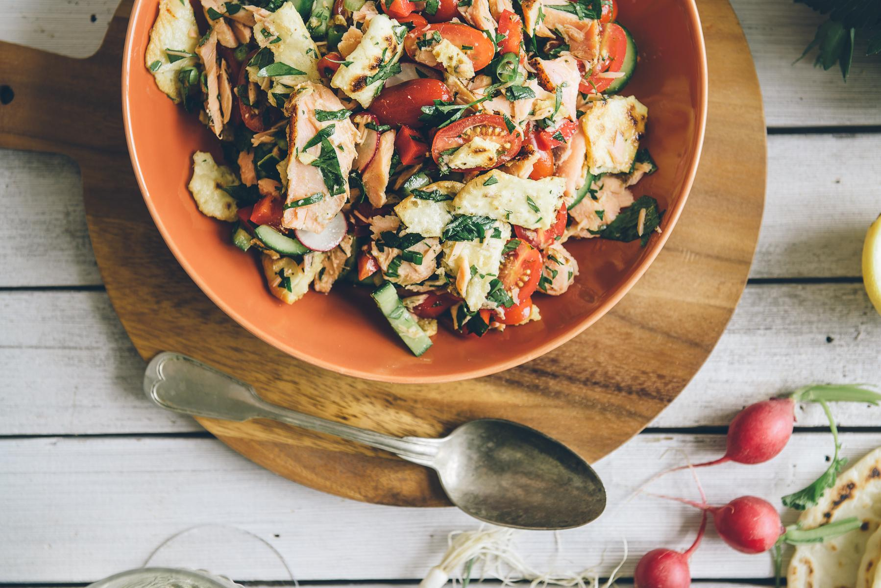 fattoush salad with hot smoked salmon recipe