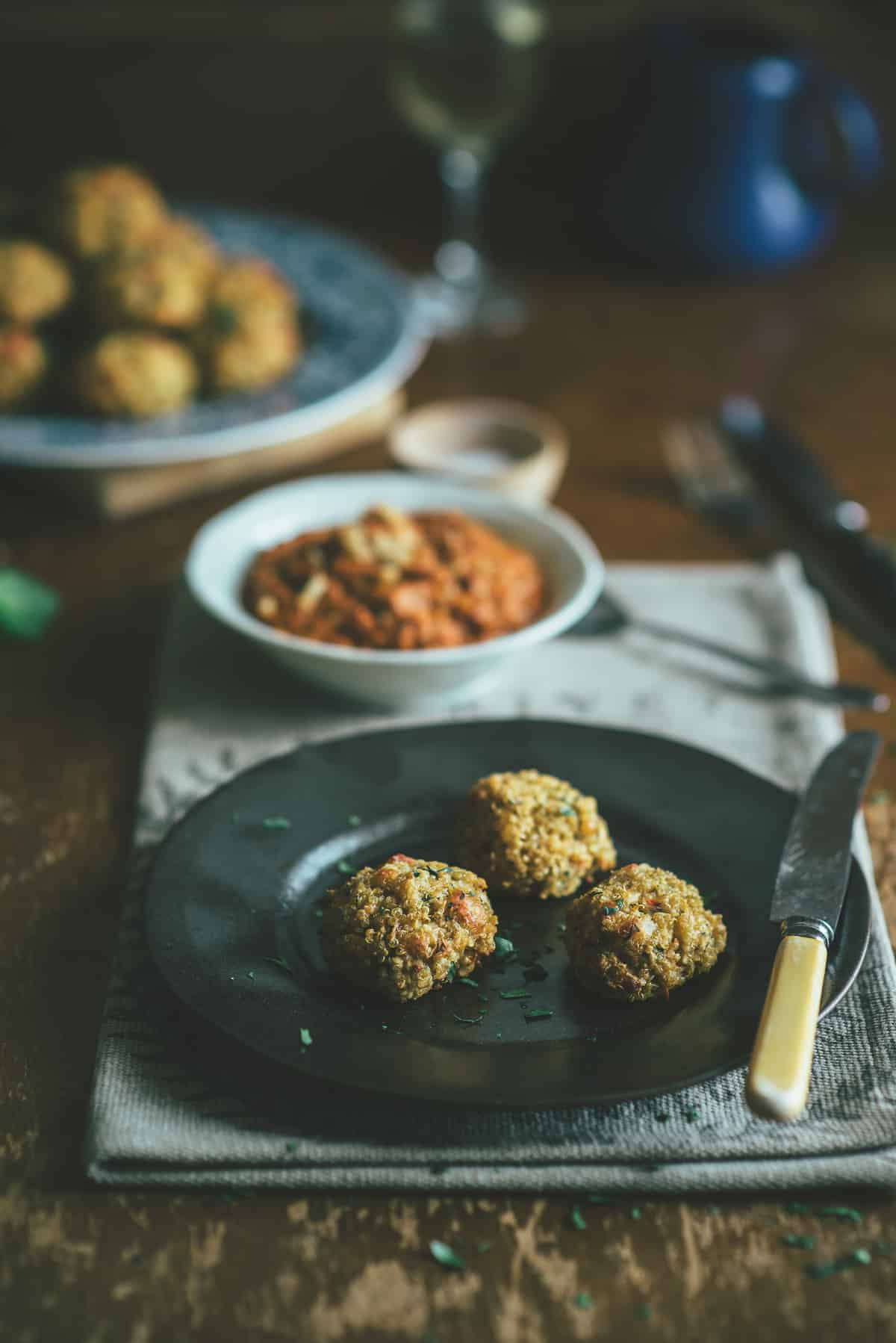 vegetarian meatballs on a black plate