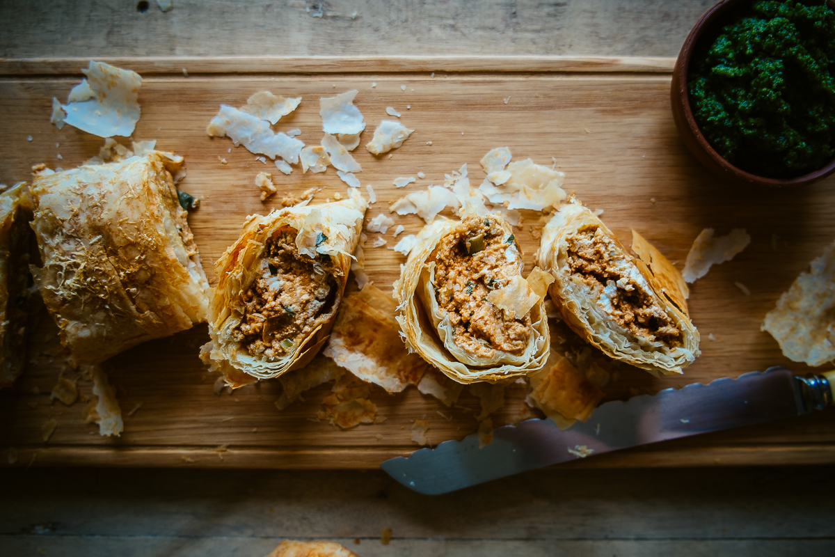 pumpkin and feta fillo roll recipe