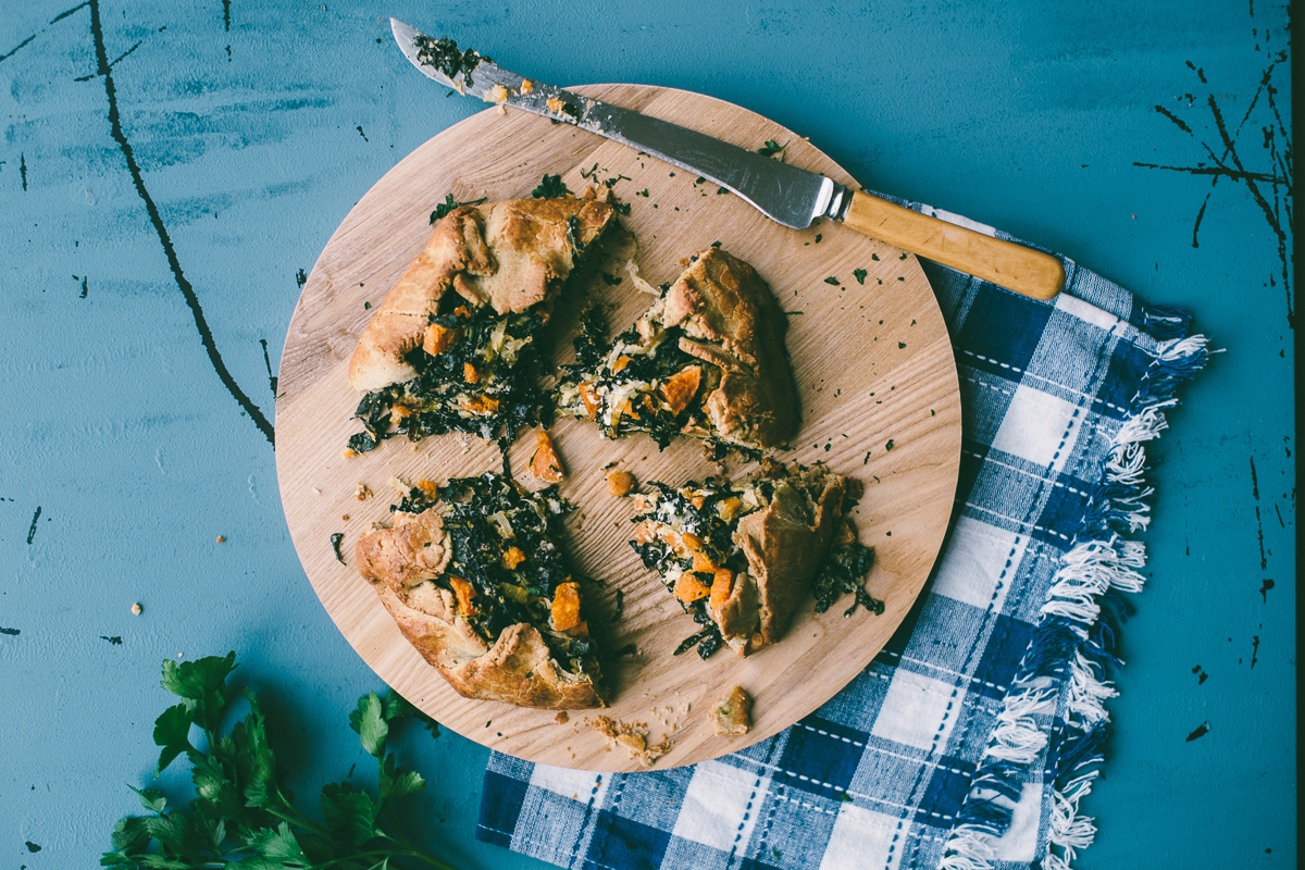 kale, feta and sweet potato pies recipe