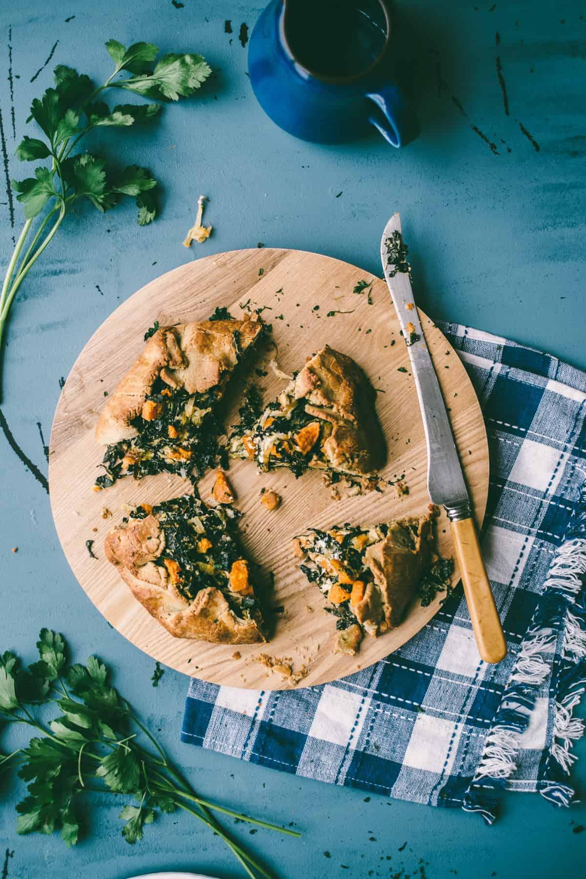 kale, feta and sweet potato pie