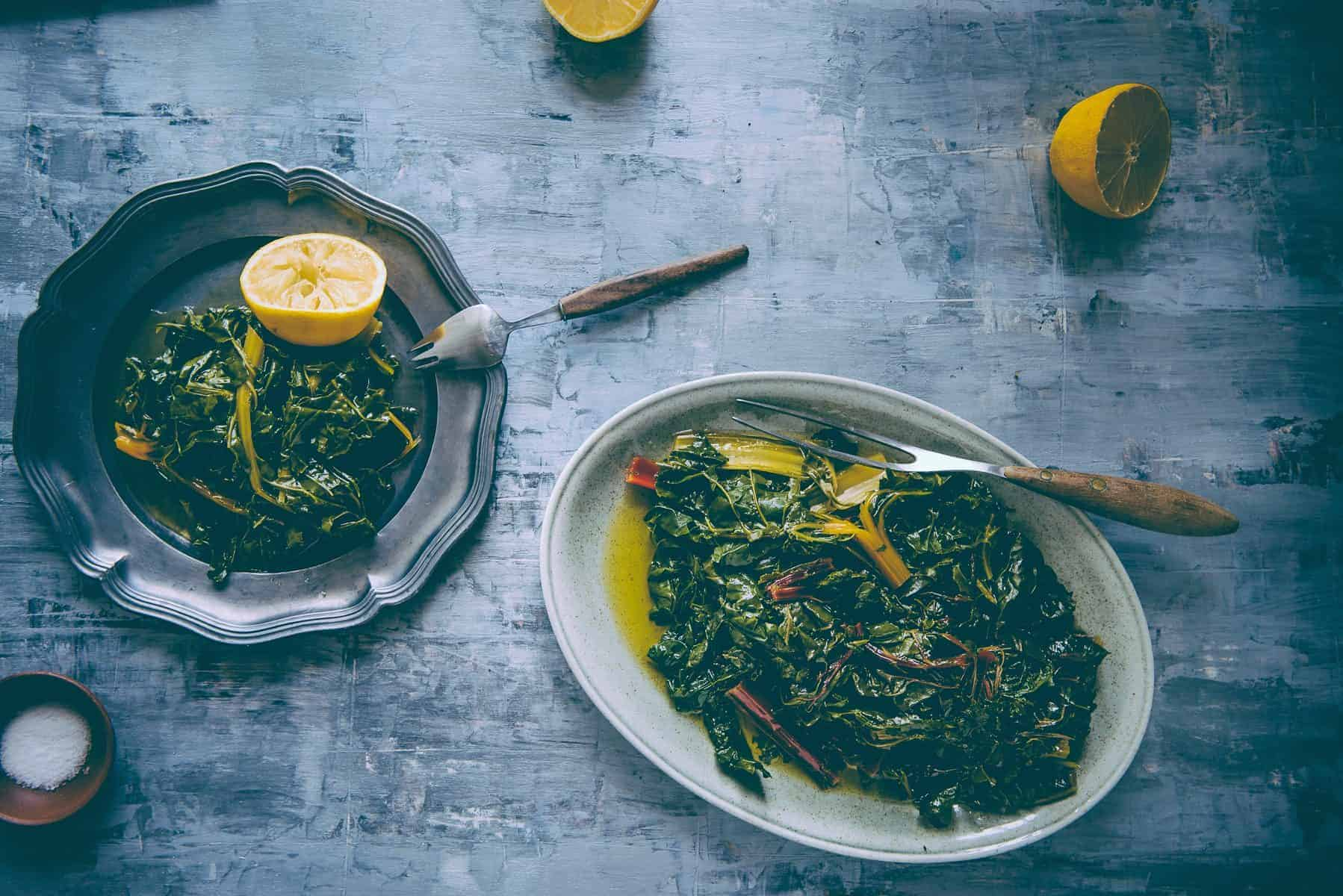 blanched rainbow chard with olive oil and lemon juice recipe