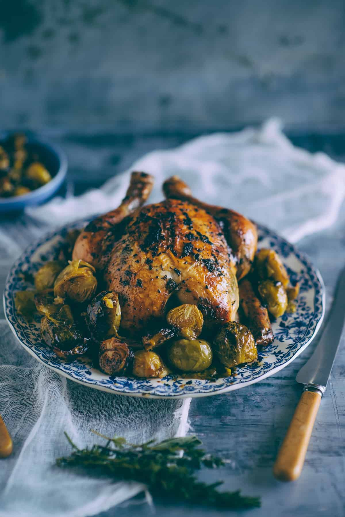 roast chicken with Brussels sprouts