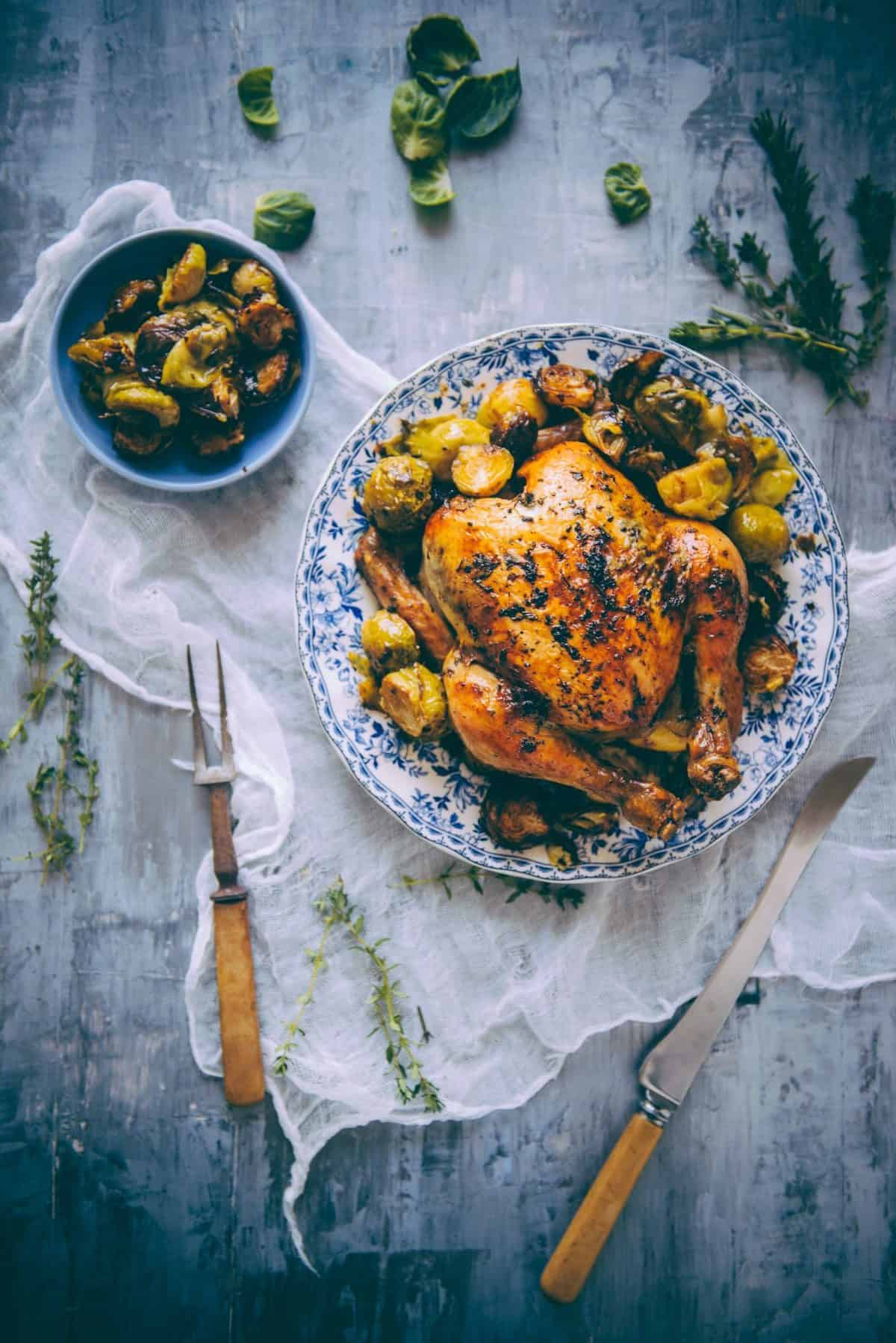 roast chicken recipe with brussels sprouts
