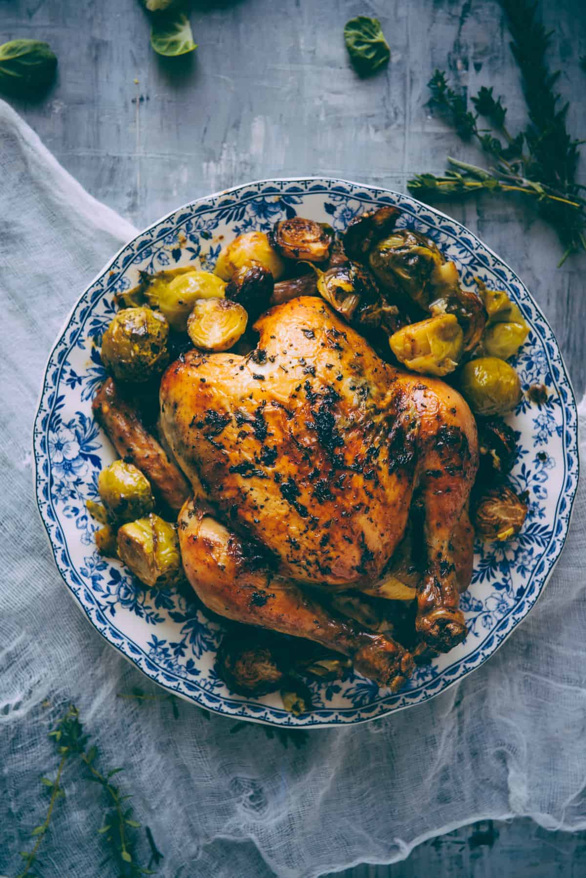 Roast Chicken With Brussels Sprouts Souvlaki For The Soul