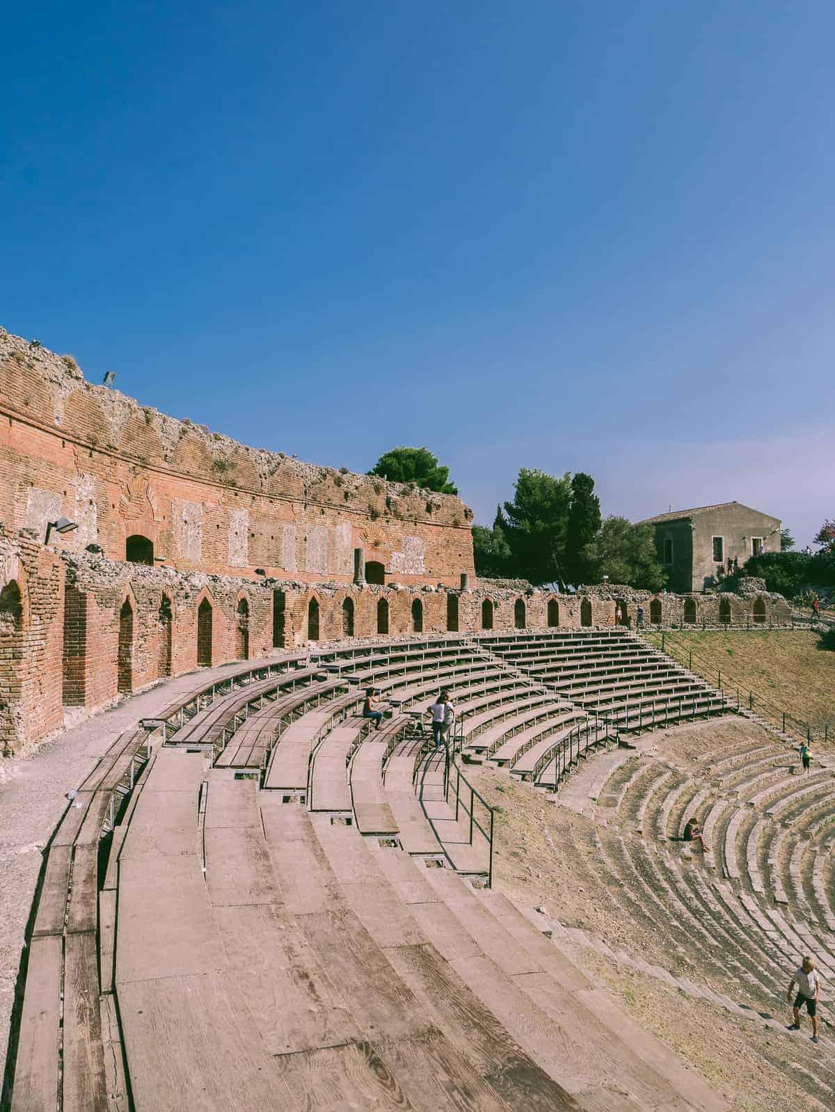 amphitheatre steps located in Teatro Greco in Taormina Sicily
