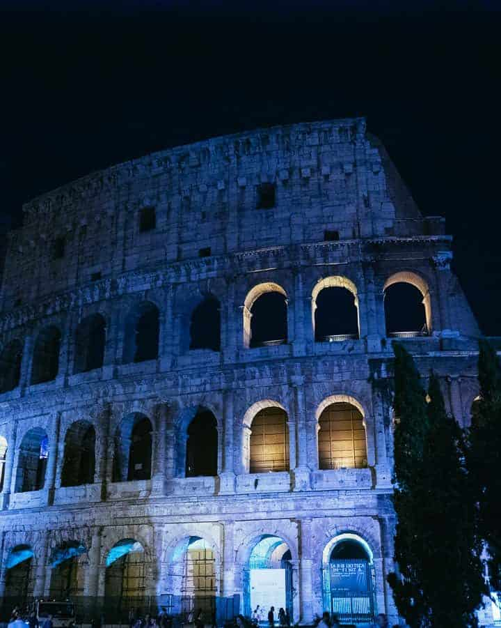 The Colosseum in Rome photographed at night