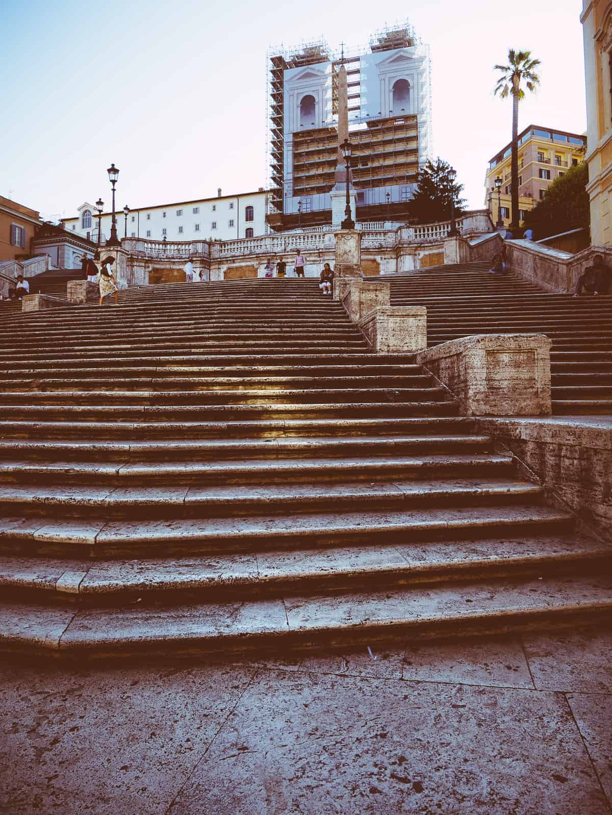 looking up at The Spanish Steps in Rome