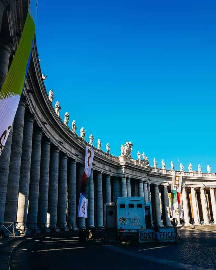 architecture and columns surrounding St Peter's Square Rome Italy