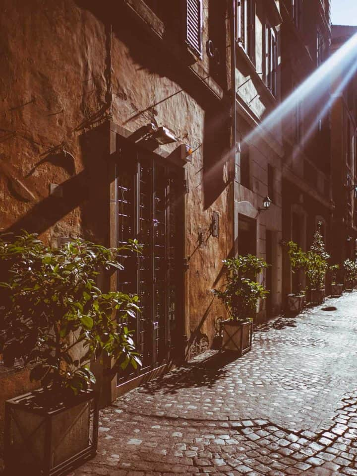 sunlit backstreets near Piazza Navona