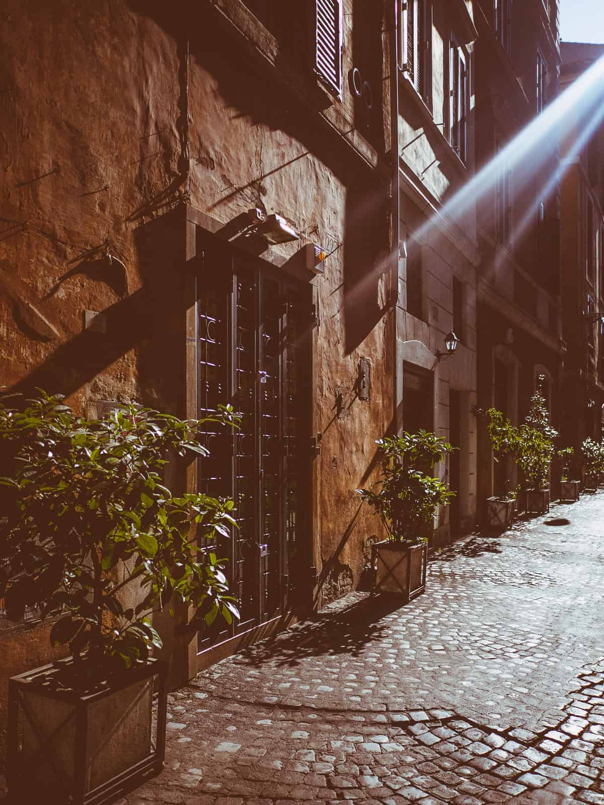 sunlit backstreets near Piazza Navona