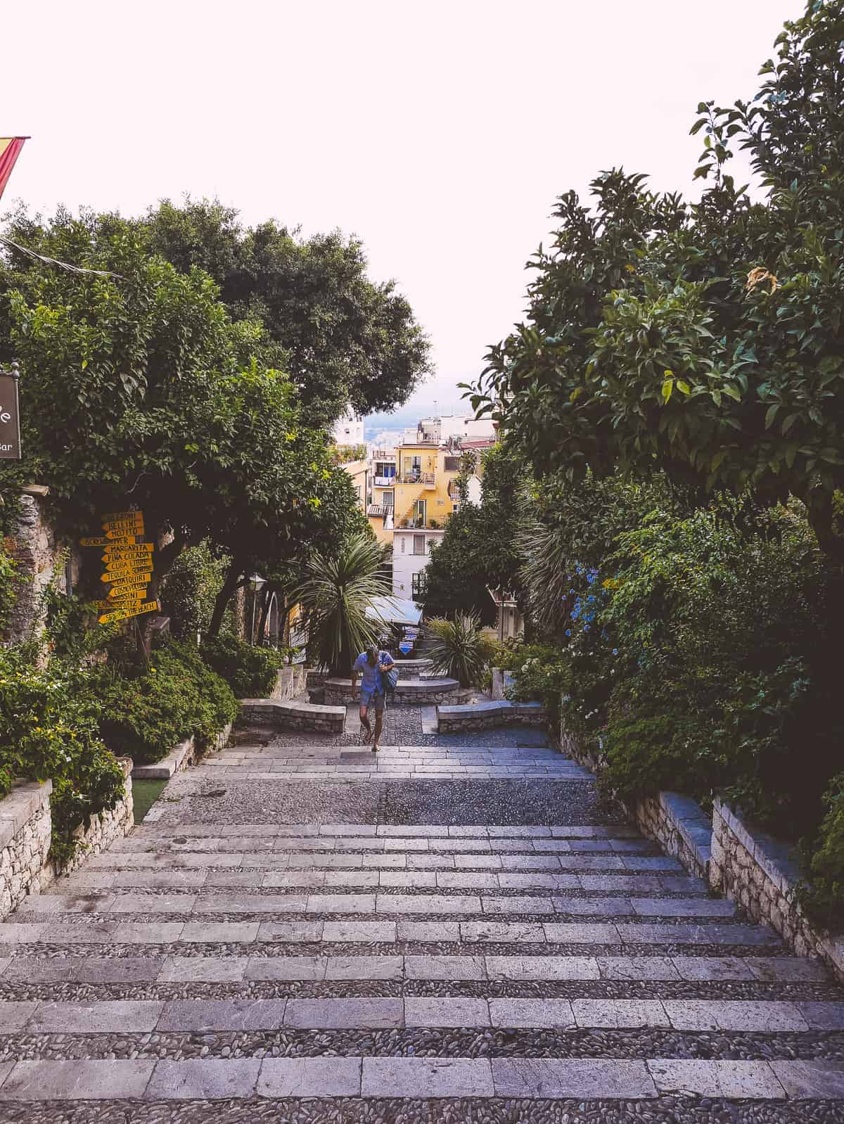 steep steps leading to Taormina in Sicily