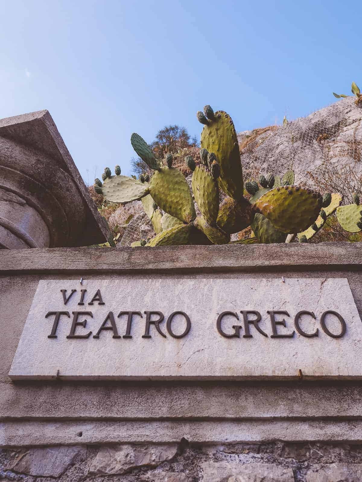 sign showing Teatro Greco in Taormina Sicily