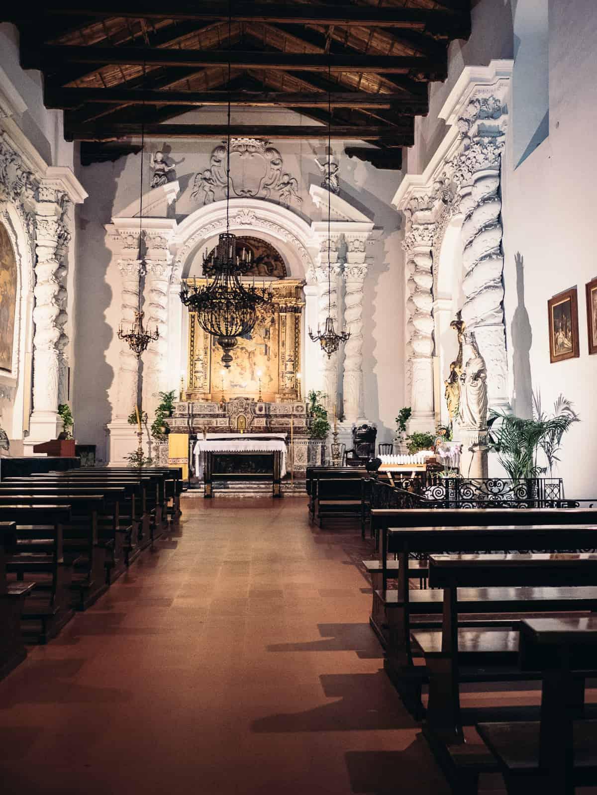 views inside a church located in Taormina