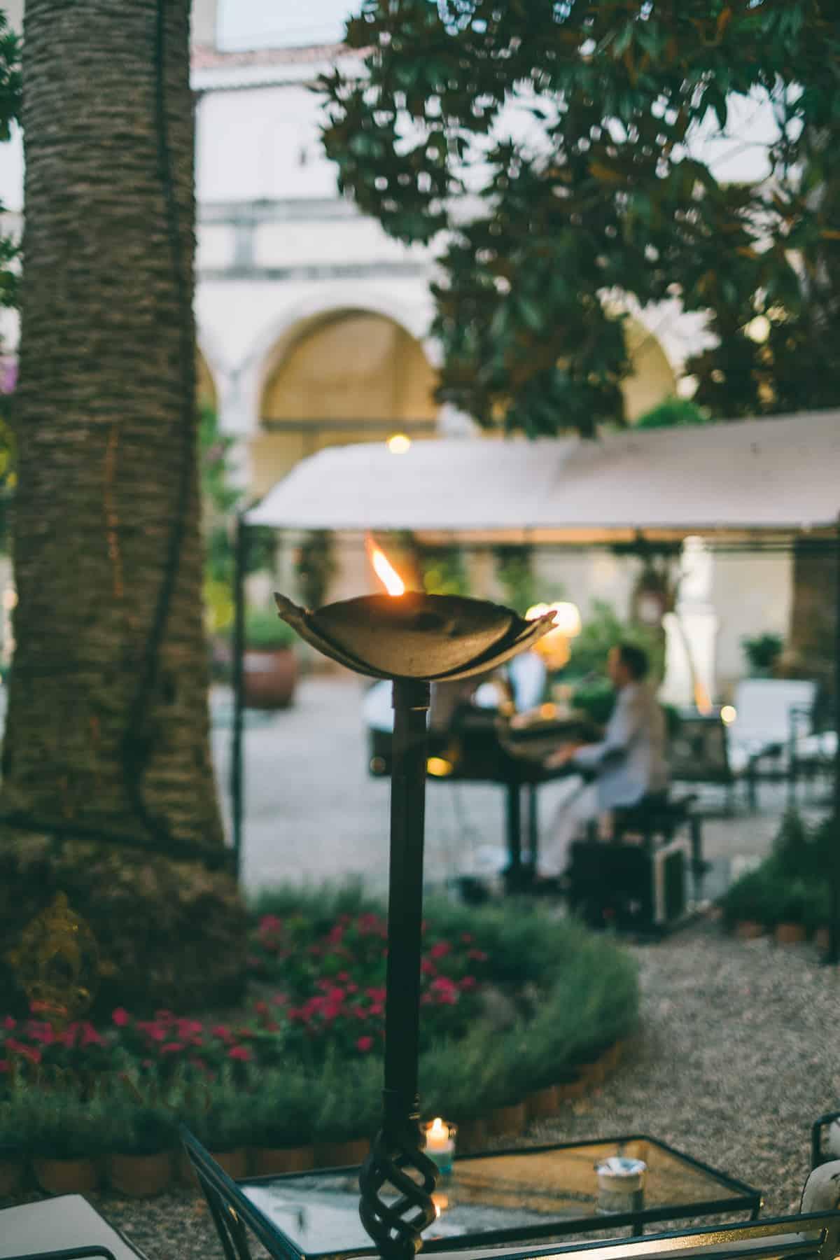the courtyard of the San Domenico Palace Hotel Taormina Sicily