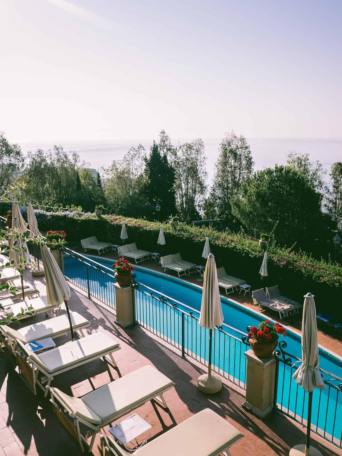 the pool area at the San Domenico Palace Hotel Taormina Sicily