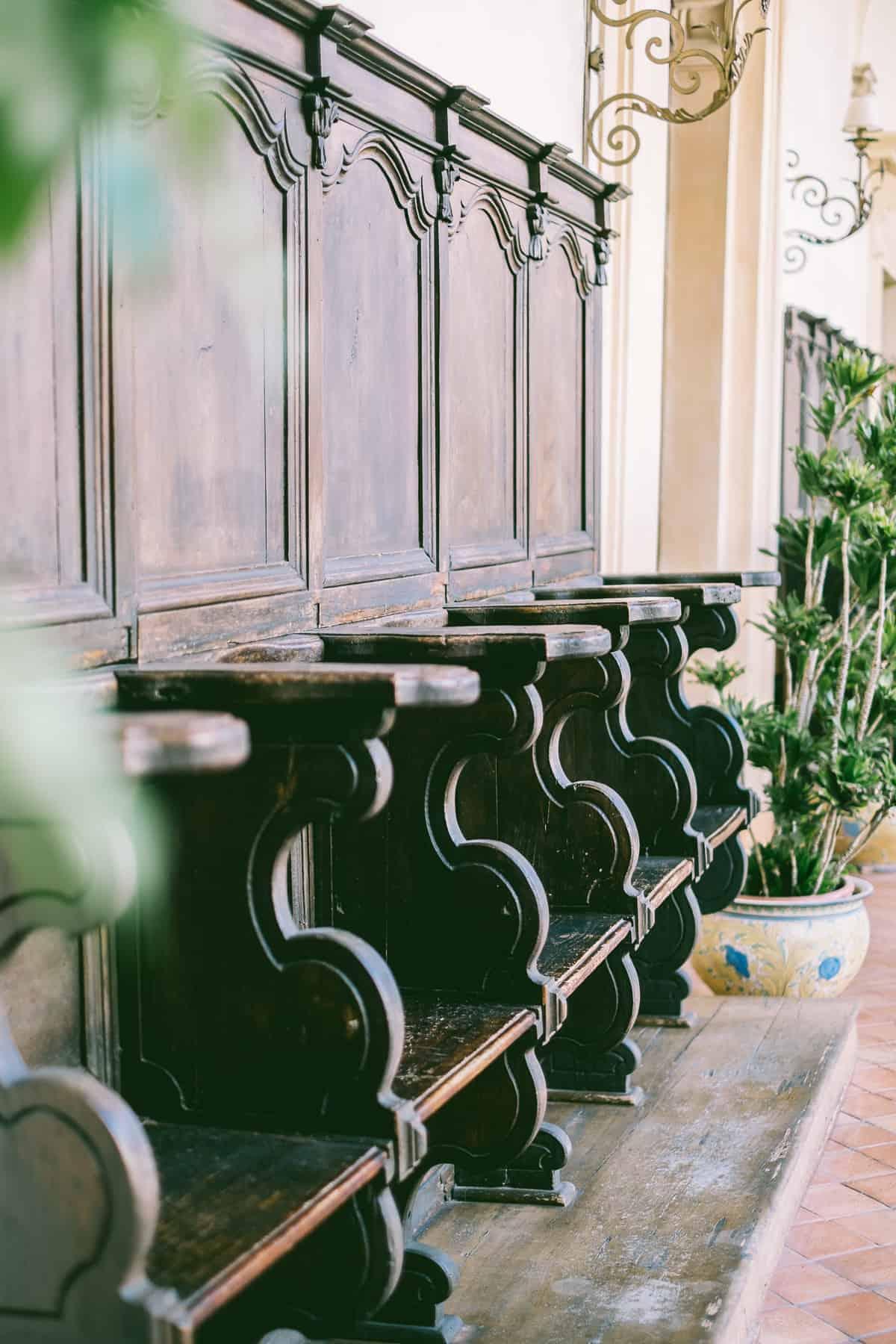 church pews inside the San Domenico Palace Hotel Taormina Sicily