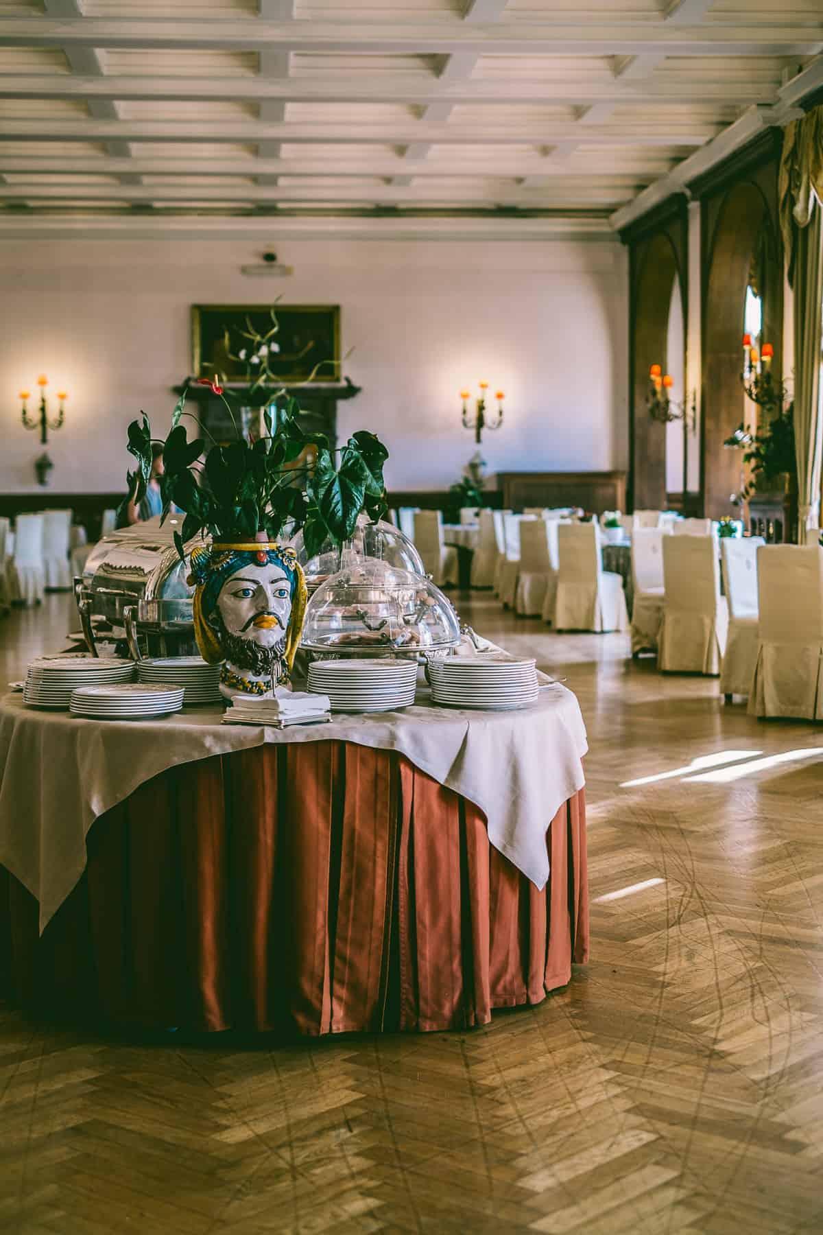 breakfast buffet at old world hotel in Taormina Sicily