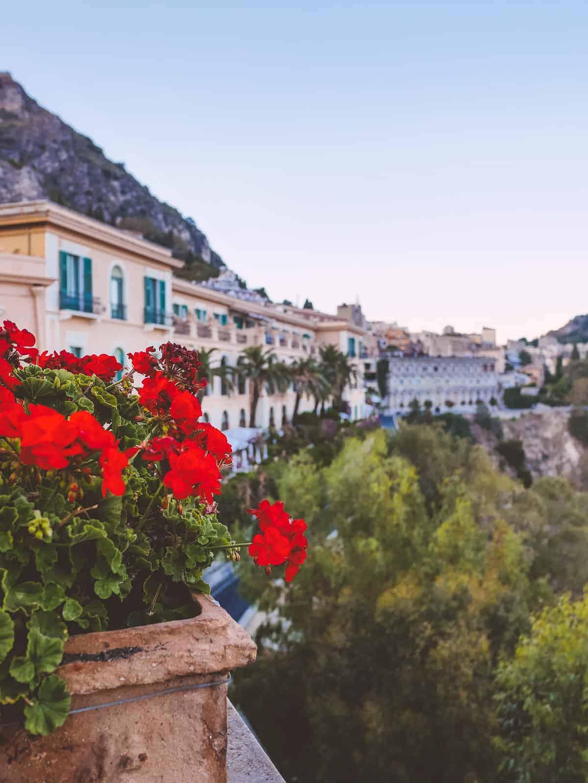 balcony view San Domenico palace hotel Taormina Sicily