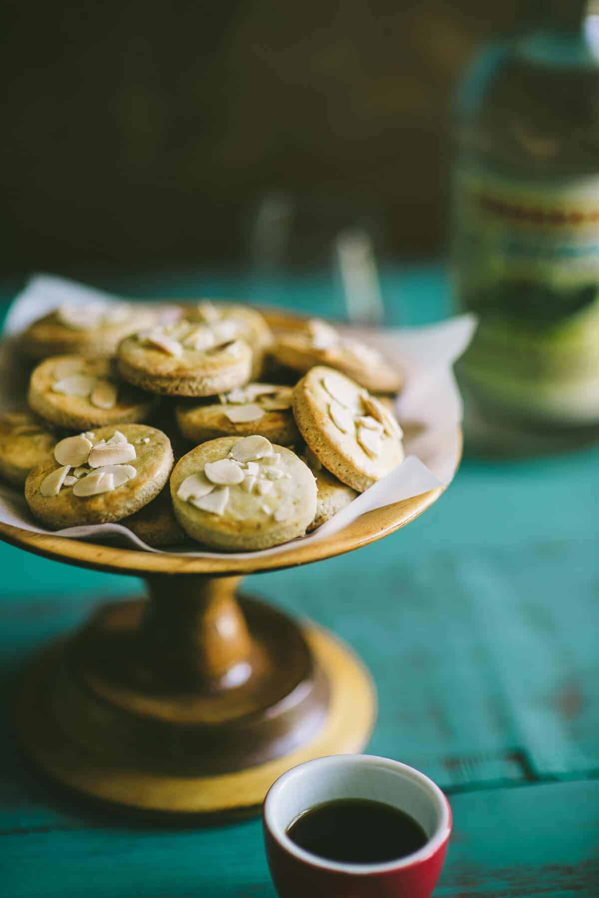 biscuits made with ouzo served on a cake stand