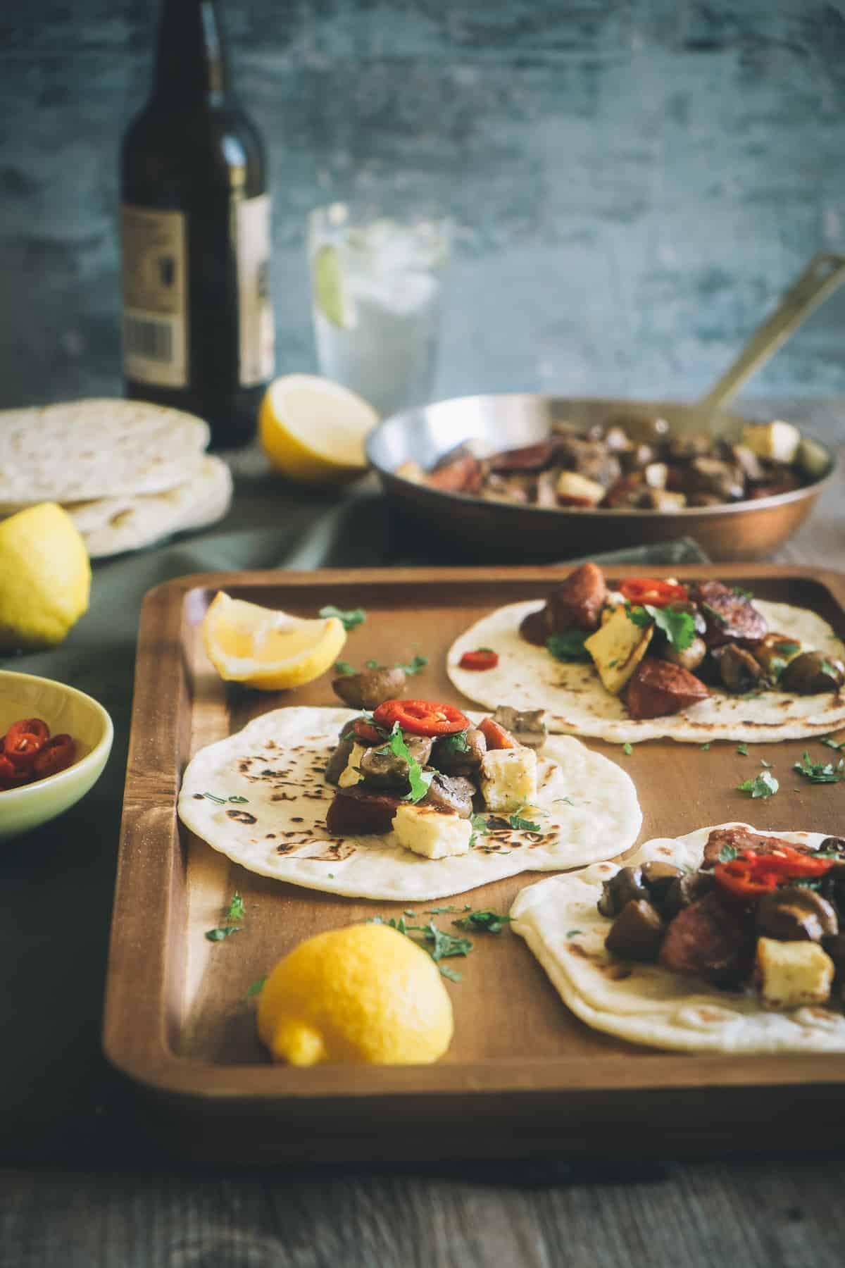 tacos made with mushroom chorizo and halloumi