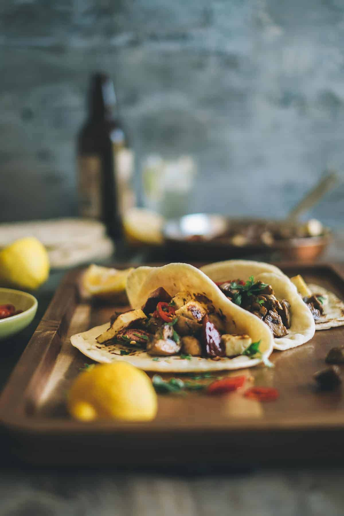 mushroom chorizo and haloumi tacos recipe