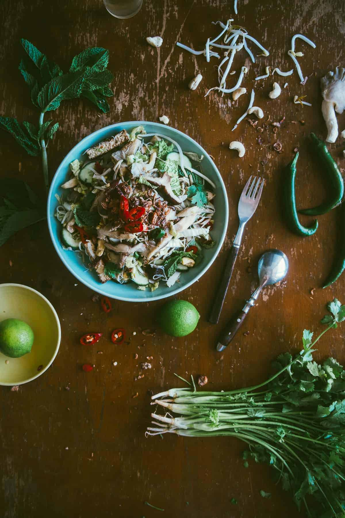 Asian mushroom noodle salad recipe