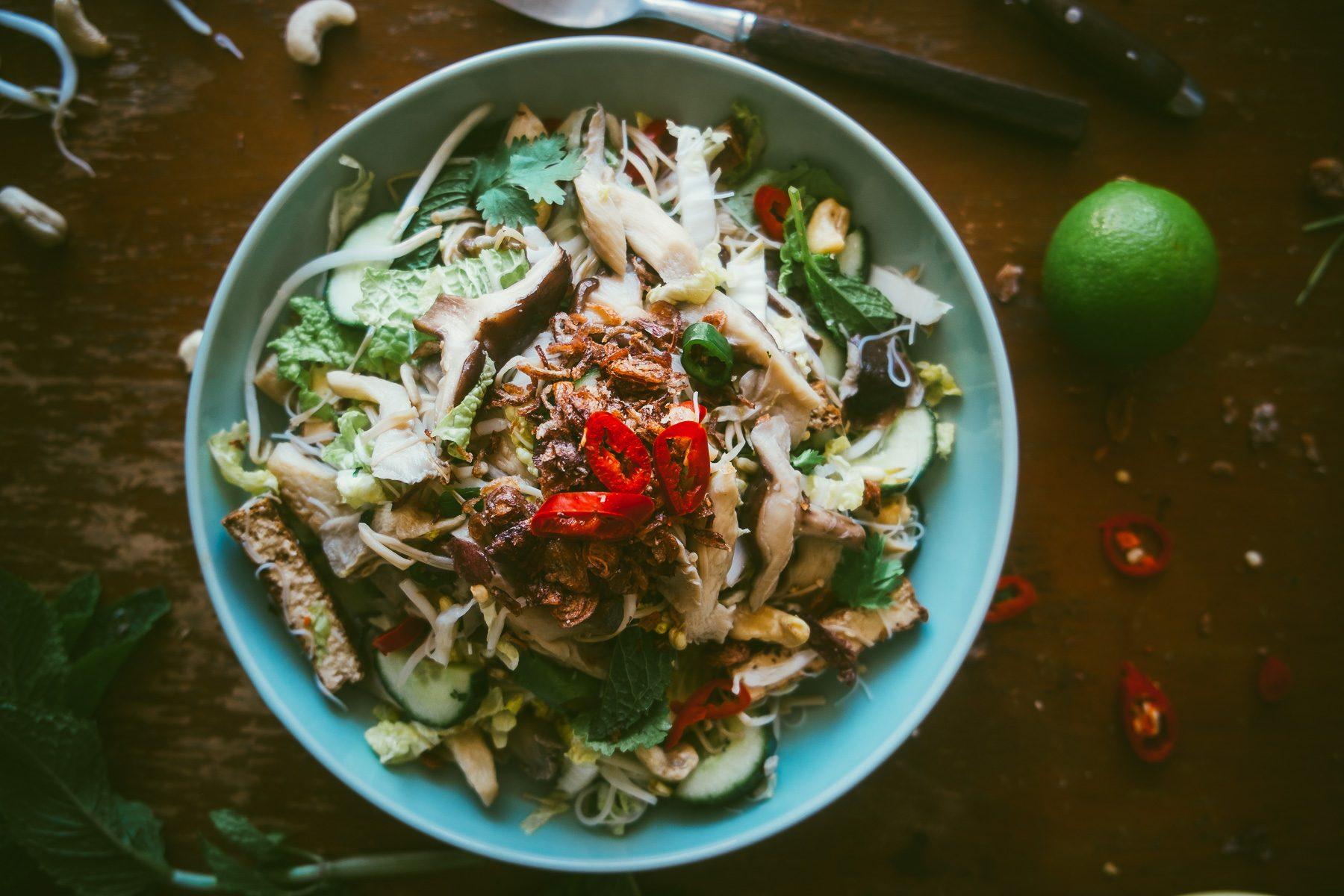 Asian mushroom noodle salad recipe