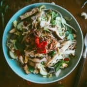 a salad made with Asian mushrooms served on a plate