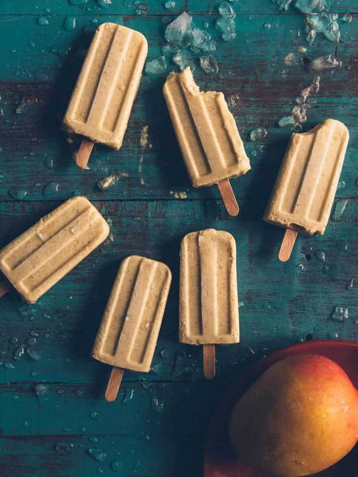 popsicles made form mango coconut and limes