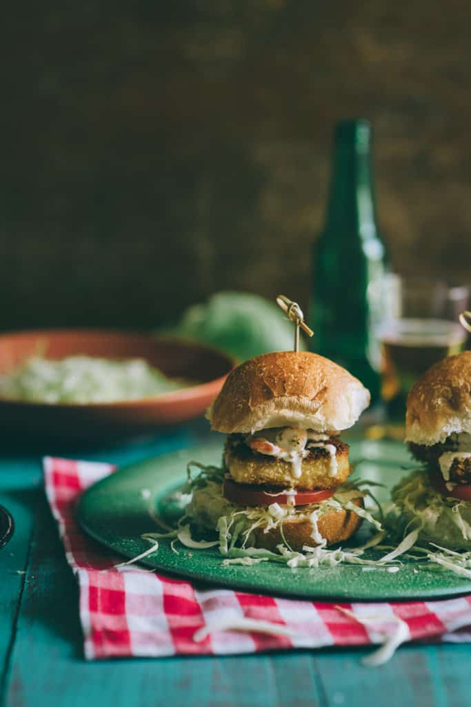 a burger made with fired halloumi cheese