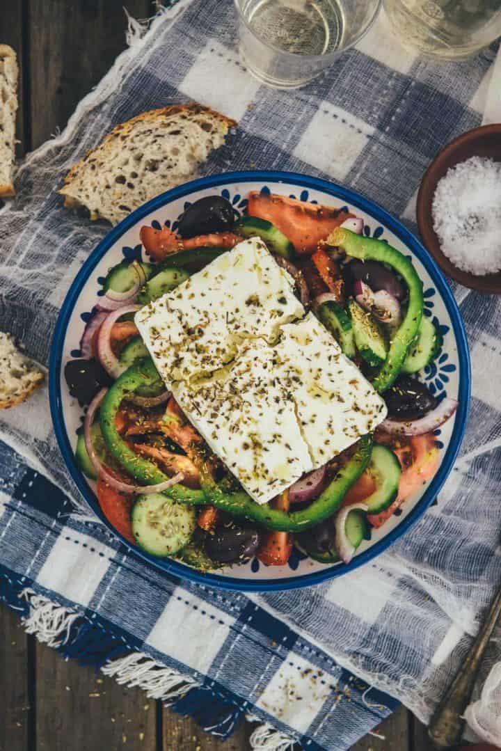 Greek salad served on a table