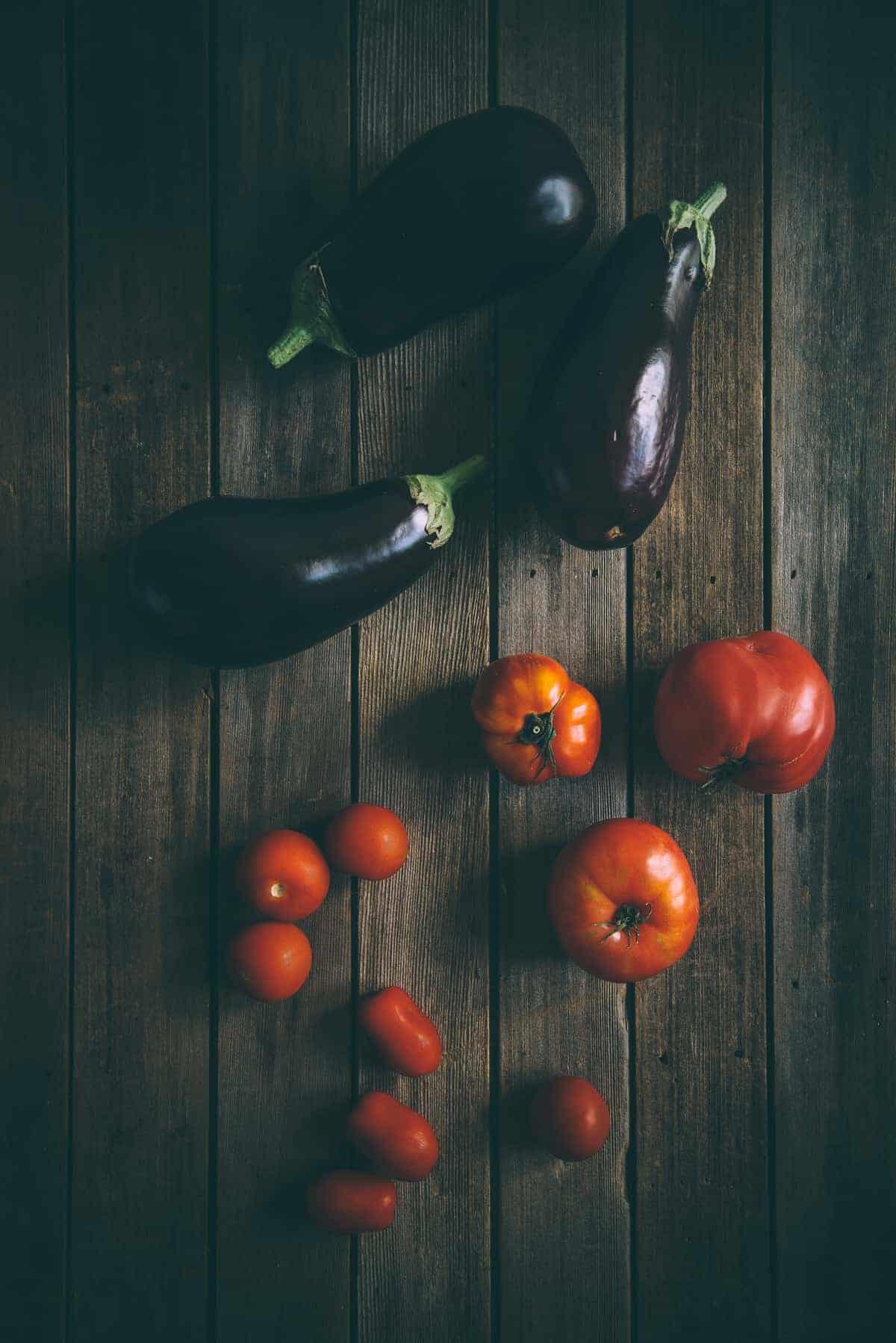 eggplants and tomatoes