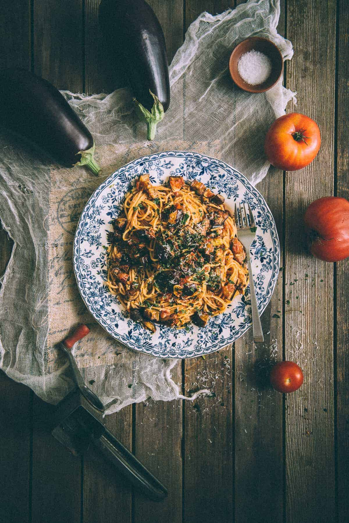 pasta all norma made with eggplants and tomatoes served on a plate