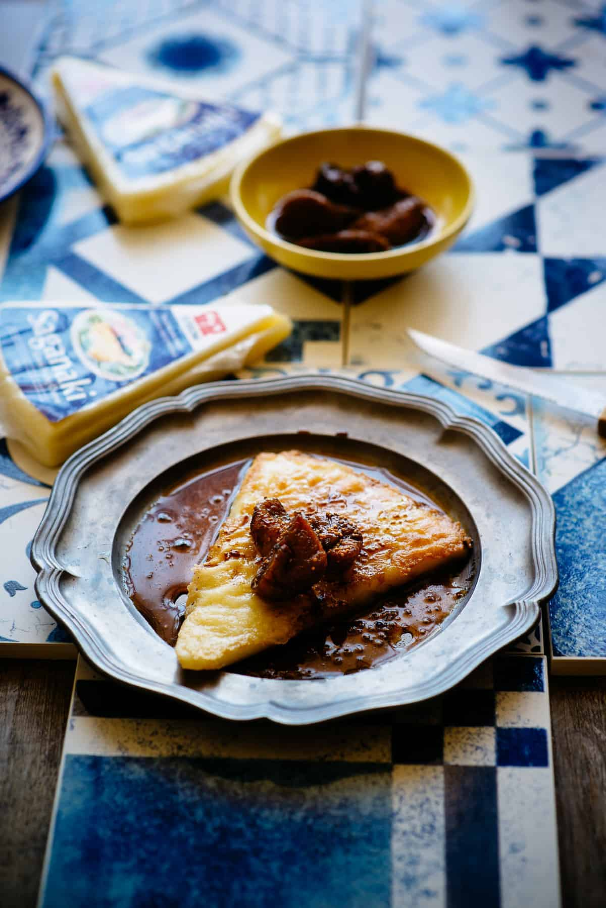 fried Greek saganaki cheese with figs and balsamic