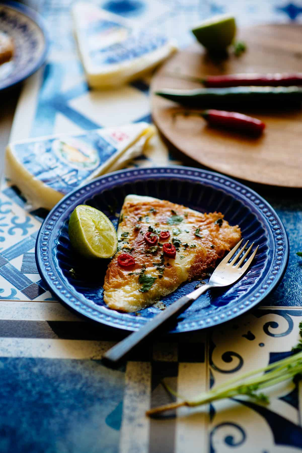 fried Greek saganaki cheese with lime and chilli