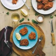 tomato fritters served on a plate