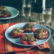 peppers stuffed with quinoa served on a plate