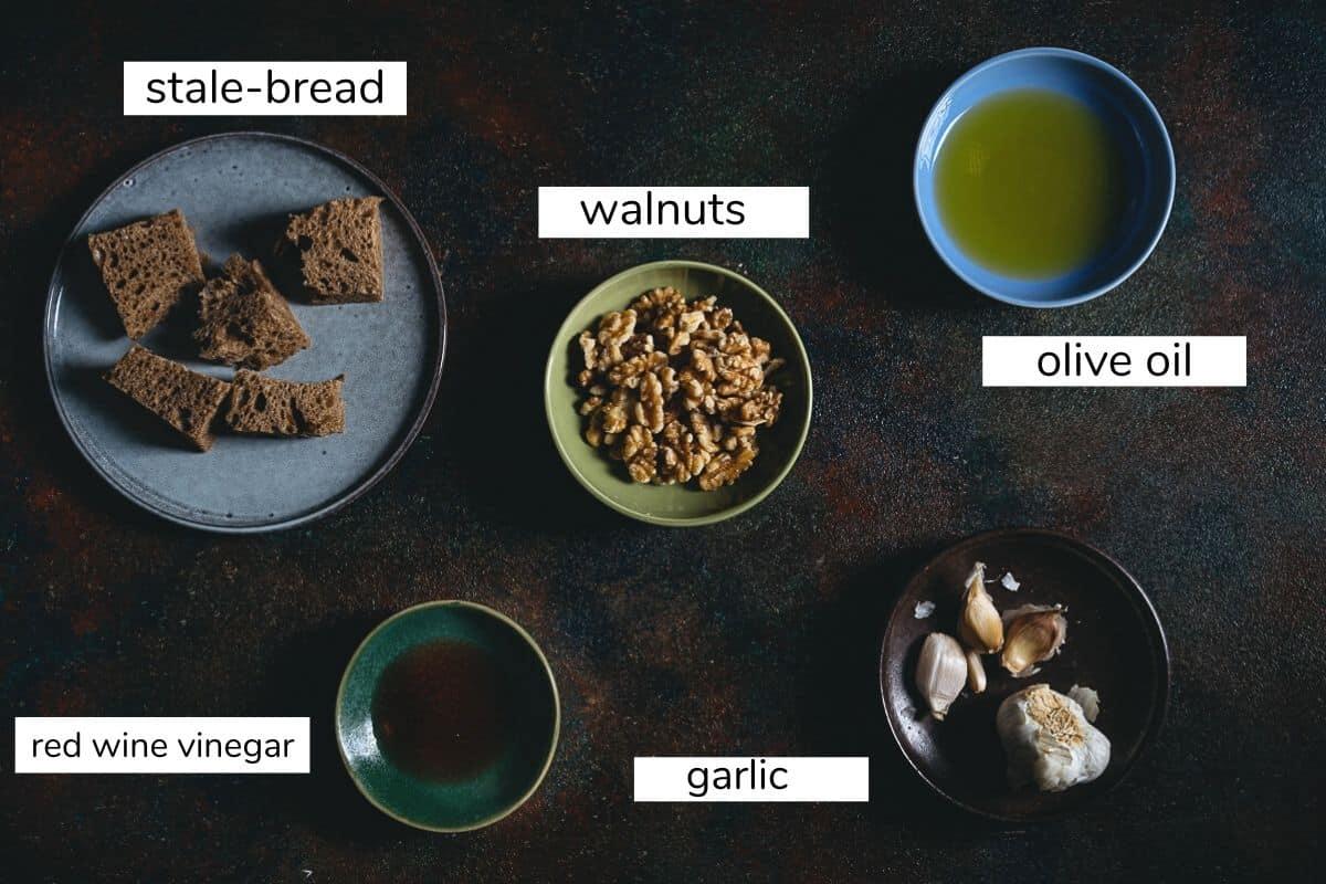 ingredients to make walnut skordalia