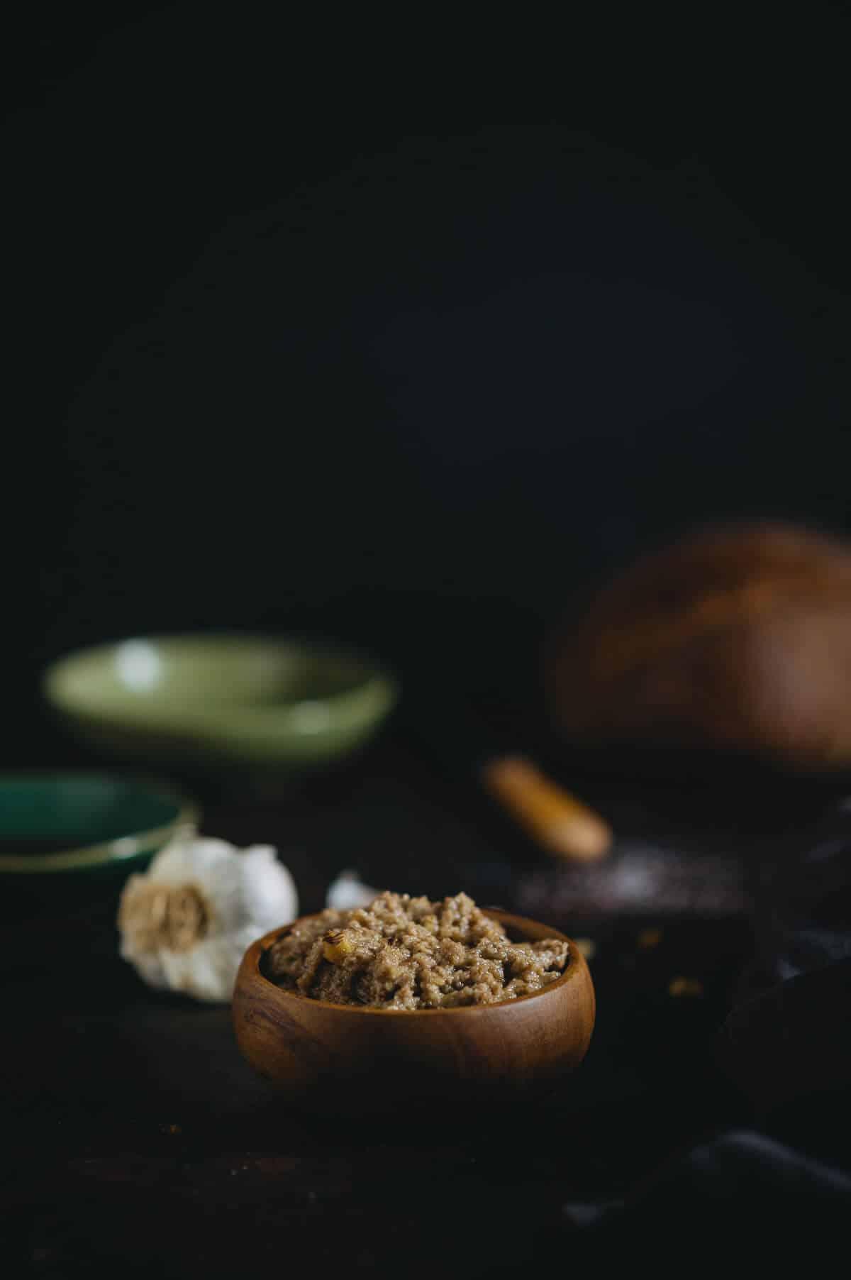 Walnut skordalia served in a bowl