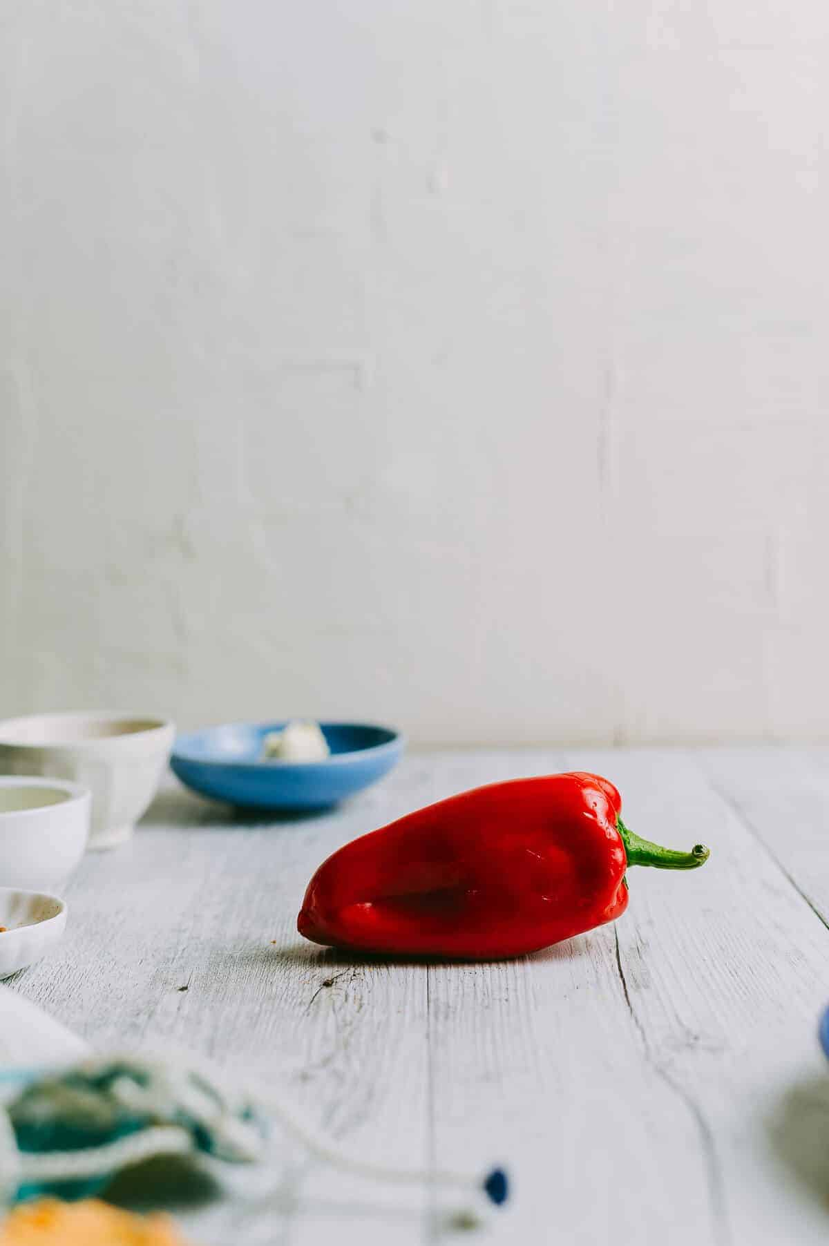 red pepper on a white table