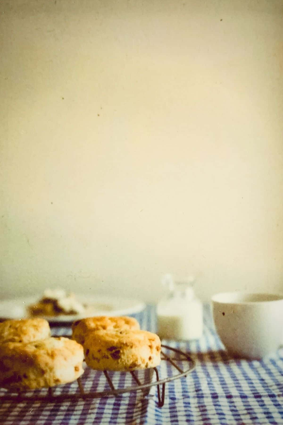 lemon and date scones on a table with a blue and white checkered tablecloth accompanied by jam, cream and hot tea